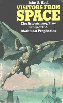 This is the front cover art for the book The Mothman Prophecies written by John A. Keel. The book cover art copyright is believed to belong to the publisher, Panther, or the cover artist.
